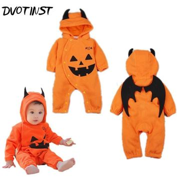 Baby Boys Girls Clothes Halloween Pumpkin Monster Wings Rompers Jumpsuit Outfit Infant Kids Toddler Cotton Clothing Costume