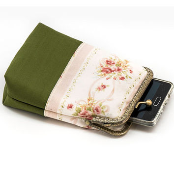 Shaby Chic Smartphone Case / Fabric Case with pocket inside - Olive Green with Pink flowers - Antique Bronze Frame