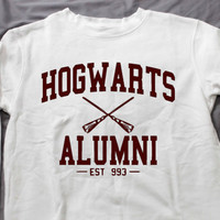 Hogwarts Alumni EST 993 Sweatshirt White long sleeve Unisex handmade silk screen printing