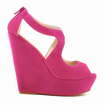 The new 2016 size 35 to 42 faux suede sandals  candy color faux suede peep toe ankle strap packaging platform wedge heels