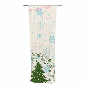 """Famenxt """"Merry And Bright"""" Holiday Typography Decorative Sheer Curtain"""