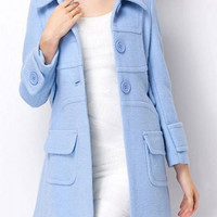 Light Blue Long Sleeve Coat