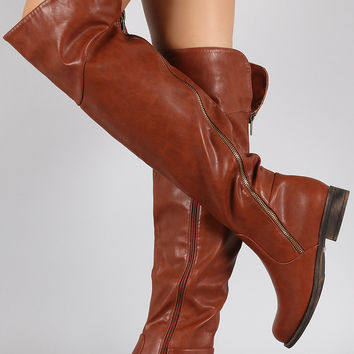 Diagonal Zipper Riding Flat Boots