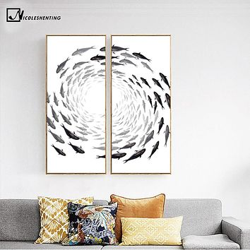Nordic Art Zen Fishes Canvas Poster Abstract Minimalist Art Painting Huge Print Trippy Wall Picture for Home Living Room Decor