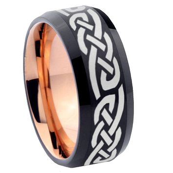 8mm Celtic Knot Infinity Love Bevel Tungsten Carbide Rose Gold Men's Ring