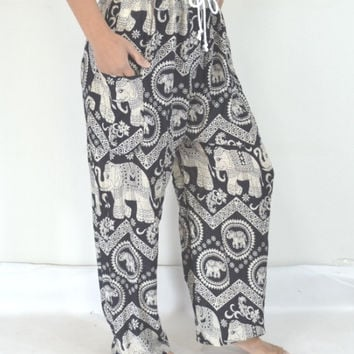 Long Elephant Yoga Black grey stripes Pants/Harem pants/ Boho/Print design/Elastic waist/Comfortable wear fit most/Comfy Pants/ Thailand