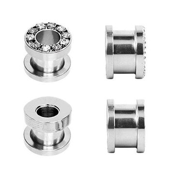 4G Plugs Stainless Steel Screw Fit Rim Gemmed 5mm Tunnel - 4 Pieces
