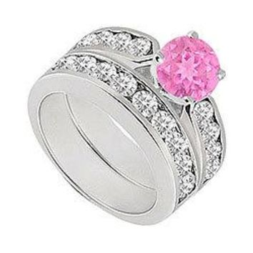 Pink Sapphire & Diamond Engagement Ring with Wedding Band Sets 14K White Gold  1.00 CT TGW