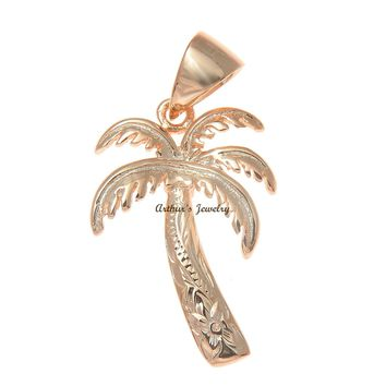 16MM PINK ROSE GOLD PLATED SILVER 925 HAWAIIAN PALM TREE SCROLL PENDANT CHARM