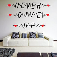 Vinyl Wall Decal Quote Never Give Up with Heart Pulse Shape/ Inspirational Text Art Decor Removable Sticker / Motivating Words DIY Mural