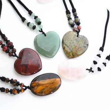 Hot!!Necklaces & Pendants Natural Stone For Women and Men Agates Tiger Eye Roses Quartz Unakite Drop Heart Oval Lucky Love 2PCS