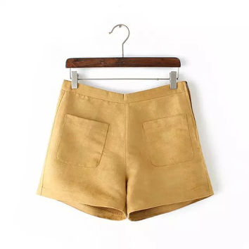 Faux Suede Zipper Pocket Shorts
