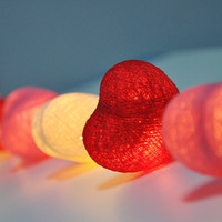 Sweet colour cotton heart string lights for Patio,Wedding,Party and Decoration (20 bulbs)
