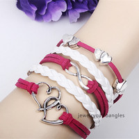 Mutual affinity bracelet,  South Korea Flannelette  infinity hand-woven bracelet, men's and women's jewelry bracelet  QNW8017