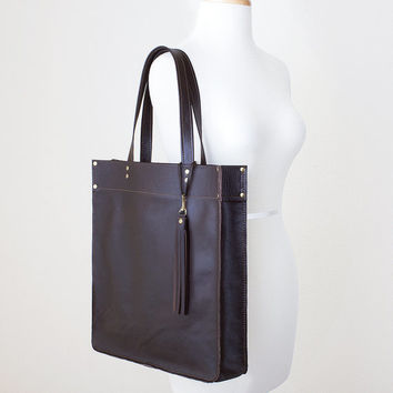 Large Brown Leather Tote with Tassel Keychain Purse Charm, Everyday Leather Tote, Minimal Leather Tote, Leather Shopper Tote