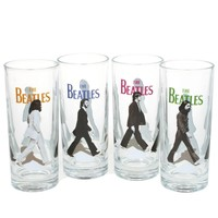The Beatles Set Of 4 Glasses Abbey Road Barware