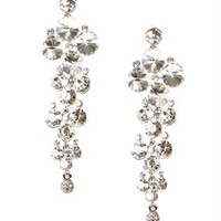 Silver Rhinestone Glam Earrings