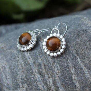 Tigereye earrings. Sterling silver Circle of Dots. Large brown Tiger Eye stones.