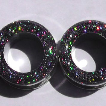 Charcoal Holograpic Sparkle Flesh Screw On Tunnels- Made to Order 2,00