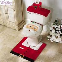 FENGRISE Santa Claus Rug Toilet Seat Cover Bathroom Set Merry Christmas Decorations for Home New Year Navidad Decoration