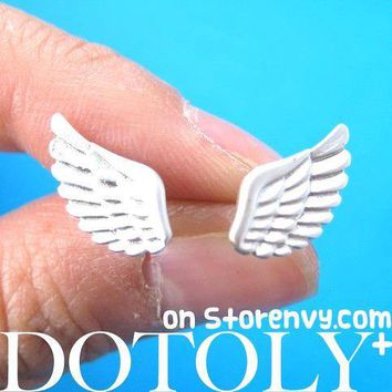 Feather Shaped Angel Wings Stud Earrings in Silver | ALLERGY FREE