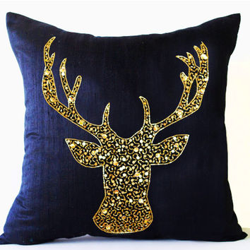 Navy Blue Silk Pillow Cover -Designer Pillowcase -Premium Blue Silk Cushion -Deer Antler -Christmas Thanksgiving -Gift -Present -Birthday
