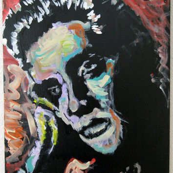 Unique Pop Art on Recycled Canvas - Elvis Presley - Are you Lonesome Tonight - Original Acrylic Painting - Home Wall Art Decor