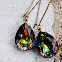 Rainbow Earrings, RARE, Pear Earrings, Swarovksi Crystal Pear Dangle Earrings