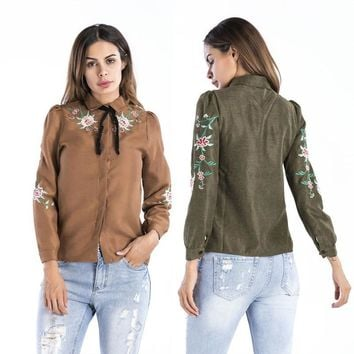 Floral Embroidery Solid Blouse Women Long Sleeve Shirt Casual Cotton Blusa Plus Size kimono Tops for Office Lady