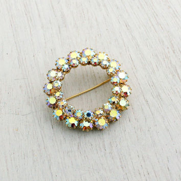 Vintage Aurora Borealis Rhinestone Brooch - 1950s Gold Tone Wreath Costume Jewelry Pin / Open Center