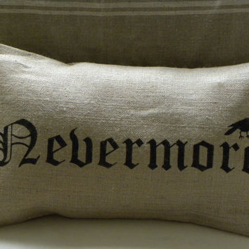 Halloween crow raven edgar allan poe burlap pillow by samantha2818