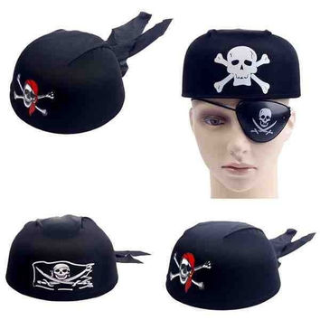 2014 hot sale cosplay Masquerade Halloween supplies game show props skull and crossbones pirate round hat (Color: Black) = 1929658692
