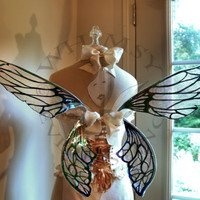 Natural Fairy Wings Wedding Halloween Costume Faerie Reenactment Fantasy Renaissance Custom Cellophane