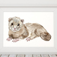 Animal print Ferret poster Wildlife art Nursery print ACW544