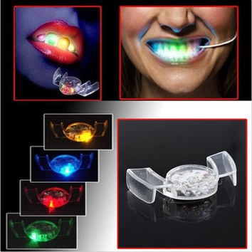 New Arrival LED Flash Light Mouth Guard Piece 4 Colors Party Glowing Tooth Toy Light Up Toy Party Glowing Christmas gift