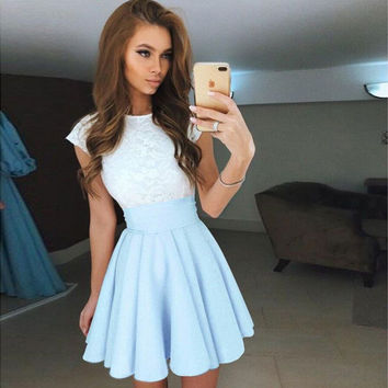 Short Sleeve Summer Casual Mini Round-neck Skirt One Piece Dress [10290572295]