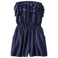 Xhilaration® Juniors Sleeveless Romper - Navy Dot : Target