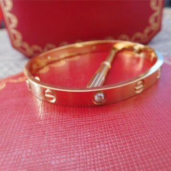 Authentic/CARTIER/Love-18k- Yellow Gold Bracelet Diamonds Size 17