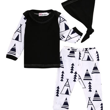 2016 Autumn style infant clothes baby boy clothing sets Newborn Baby Long Sleeve T-shirt Tops+Pants Hat 3pcs Outfit Set