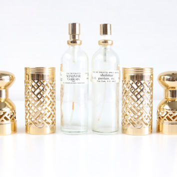 Vintage Guerlain Shalimar Eau de Toilette By Guerlain Paris Gold Lattice Case And Refill Bottle Set // French Perfume Bottle // Vanity Set