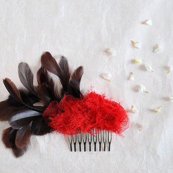 Red Peacock - one of a kind haircomb, red flower, chocolate feather