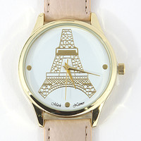 Eiffel Tower Watch - Elegant Beige