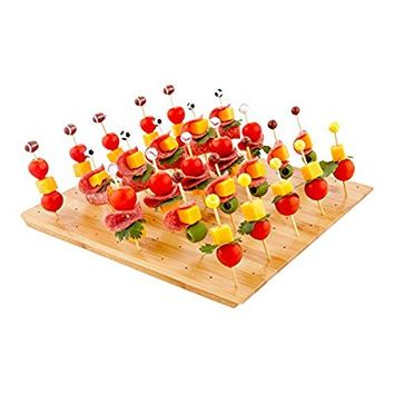 12-IN Square Bamboo Food Skewer Holder: Perfect for Cocktail Parties and Catering Events – Biodegradable and Eco-Friendly Pick Stand and Food Display – 100-holes – 1-CT – Restaurantware