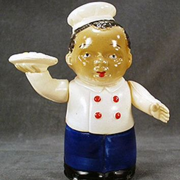 Vintage Wind Up Celluloid Toy - Old Black Waiter W-up - Made in Occupied Japan.