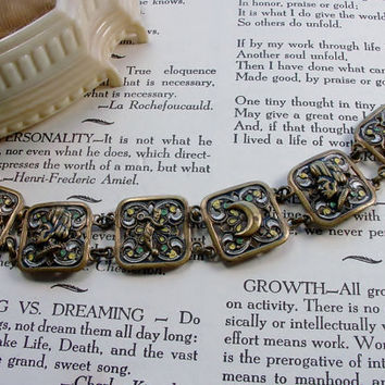 Vintage Brass Enamel Arabian Nights Bracelet Persian