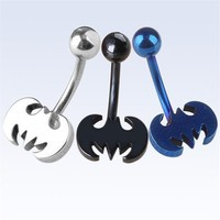 Stainless Steel Bat Batman Belly Button Ring Navel Bar Ring Body Piercing Punk