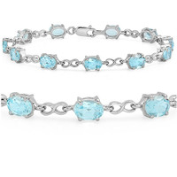12ct Sky Blue Topaz Infinty Link Tennis Bracelet set in Sterling Silver 7 1/2 inch