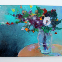 "Acrylic Still Life Painting Abstract Floral ""Bouquet of Flowers"" 14x11"
