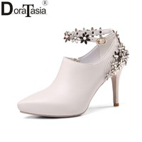 DoraTasia 2018 Spring Autumn Genuine Leather Flower Appliques Pumps Pointed Toe Zip Big Size 33-40 Shoes Woman High Heels