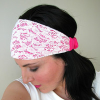 Boho Lace Headband, hippie hair wrap, lace and jersey, Romantic Spring bandana headband